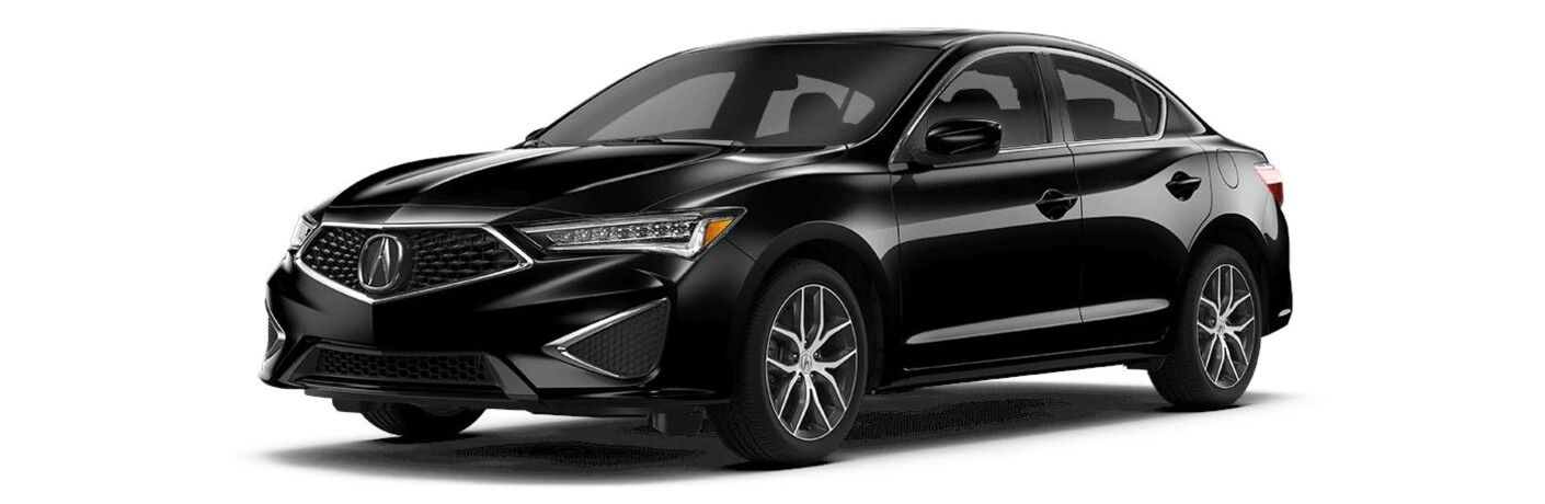 Front driver angle of a black 2021 Acura ILX Premium Package