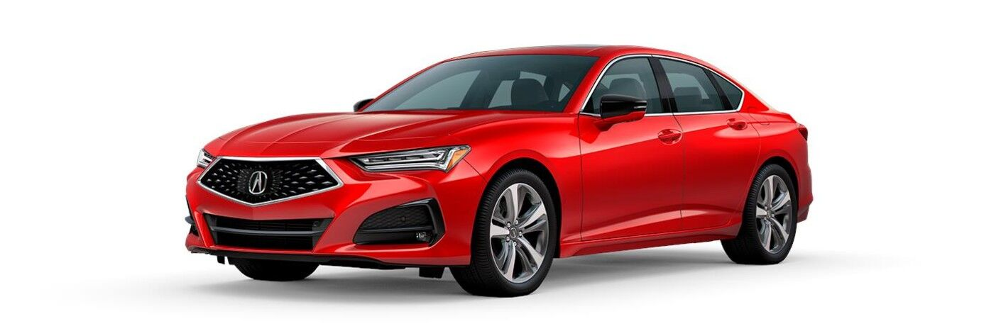 Front driver angle of a red 2021 Acura TLX Advance Package