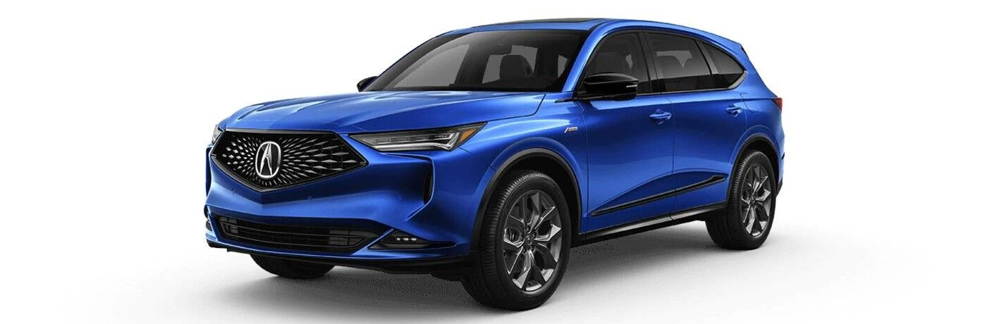 Front driver angle of a blue 2022 Acura MDX A-Spec Package