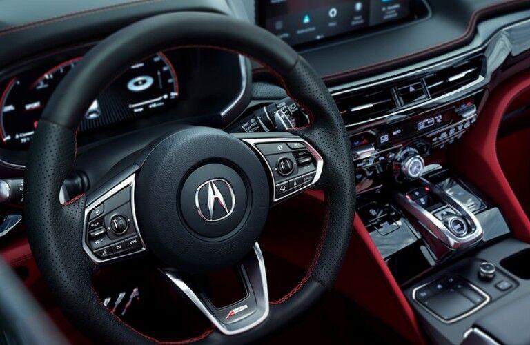 Steering wheel inside the 2022 Acura MDX A-Spec Package
