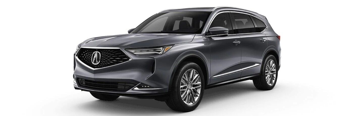 Front driver angle of a grey 2022 Acura MDX Advance Package