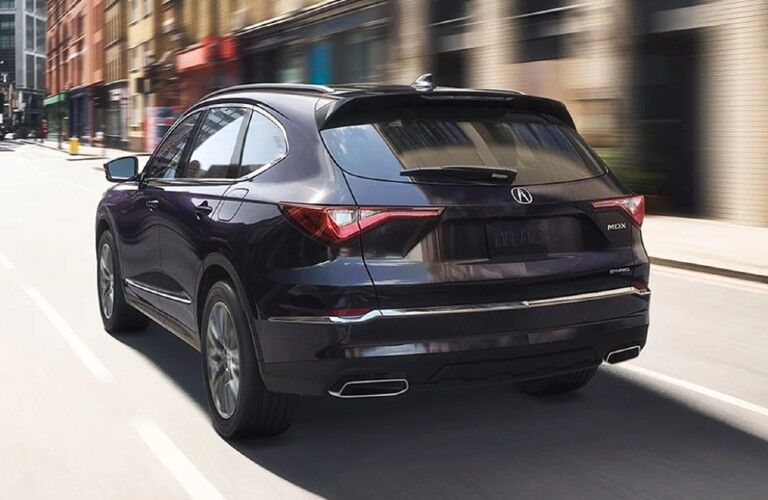 Rear driver angle of a grey 2022 Acura MDX Advance Package