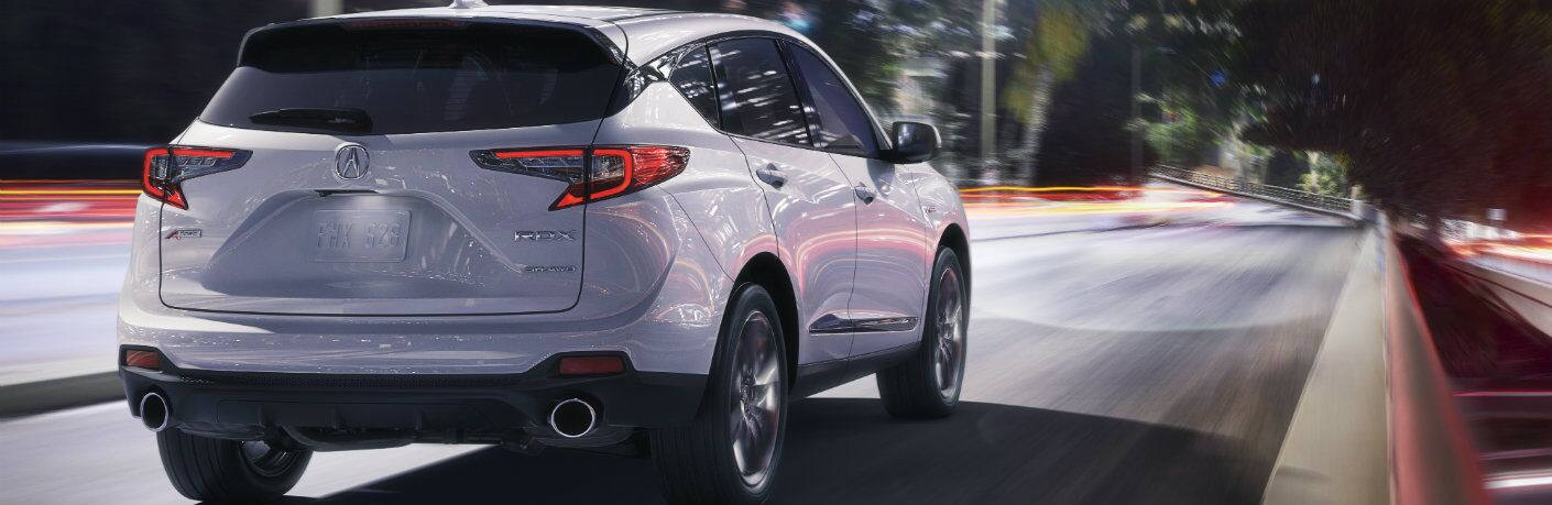 Rear end of a silver 2019 Acura RDX