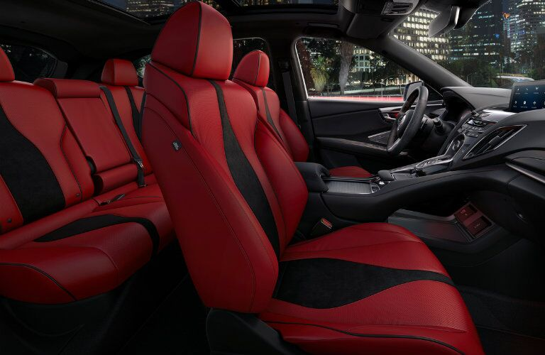 Seating in the 2019 Acura RDX with red and black upholstery