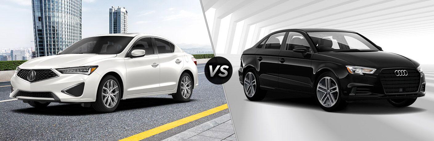 White 2020 Acura ILX on left VS black 2020 Audi A3 on right