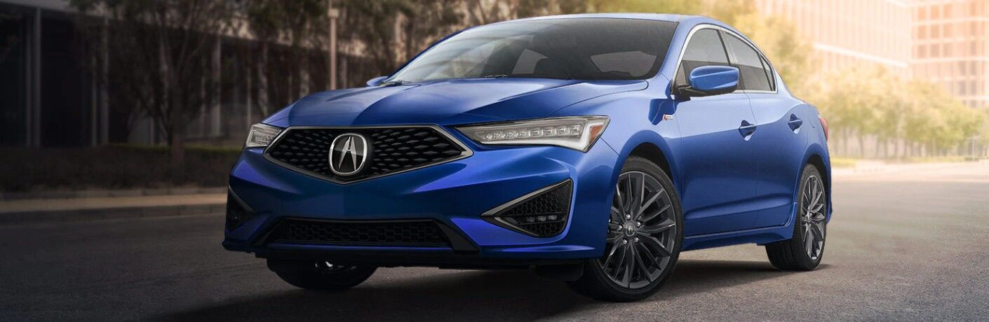 Front driver angle of a blue 2020 Acura ILX