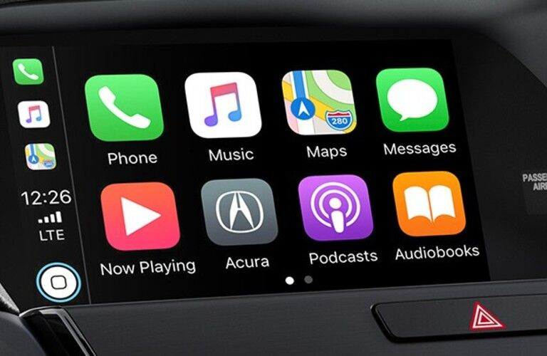 Close up of the Apple CarPlay menu on the display inside the 2020 Acura ILX Premium Package