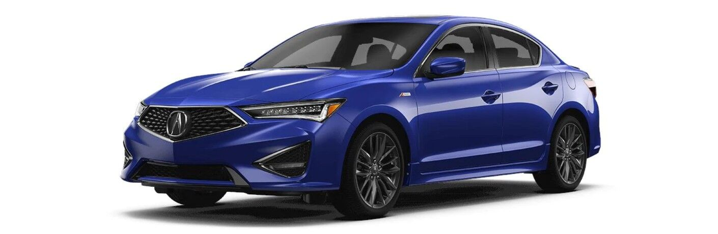 Front driver angle of a blue 2020 Acura RDX with A-Spec® package on a gray background
