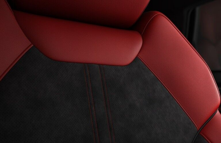 Close up of the red interior seat fabric inside the 2020 Acura MDX A-Spec Package