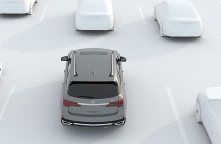 Rear aerial view of a 2020 Acura MDX Technology Package on a white background with white vehicle graphics around it