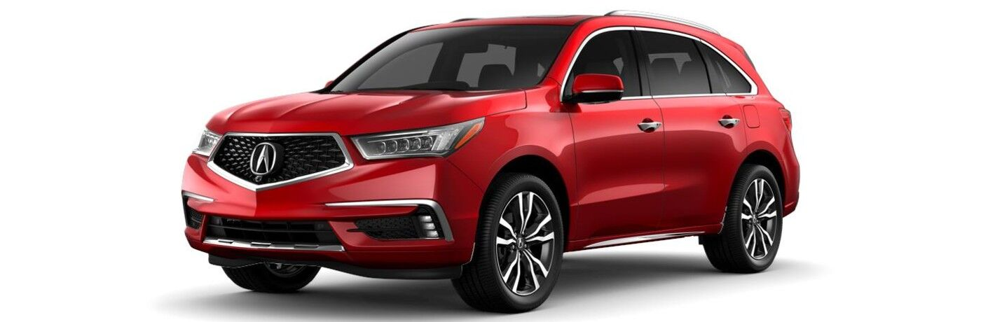 Front driver angle of a red 2020 Acura MDX Advance Package