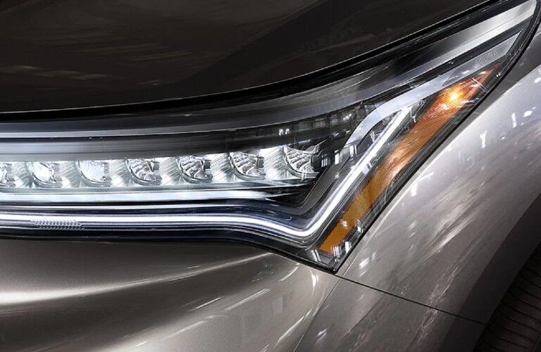 Close up of a headlight on the 2020 Acura RDX