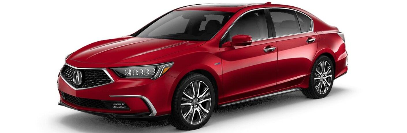Front driver angle of a red 2020 Acura RLX Advance Package