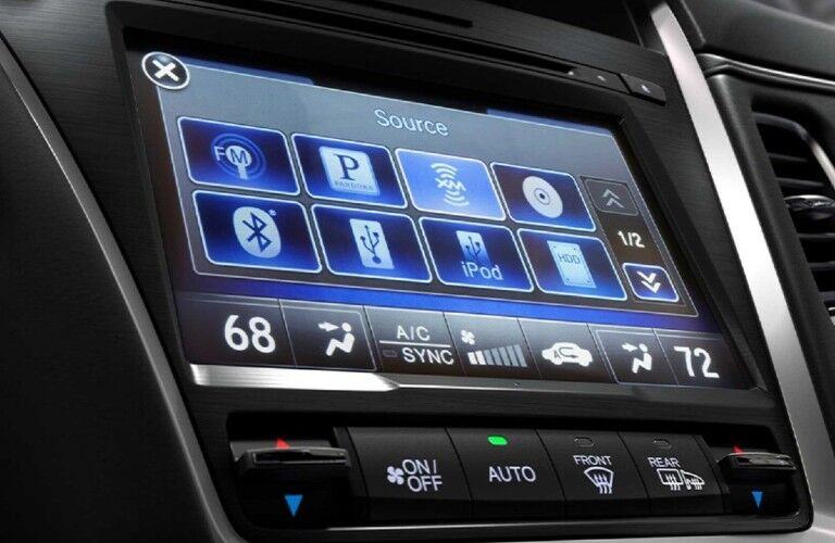 Close up of the touchscreen display inside the 2020 Acura RLX Advance Package