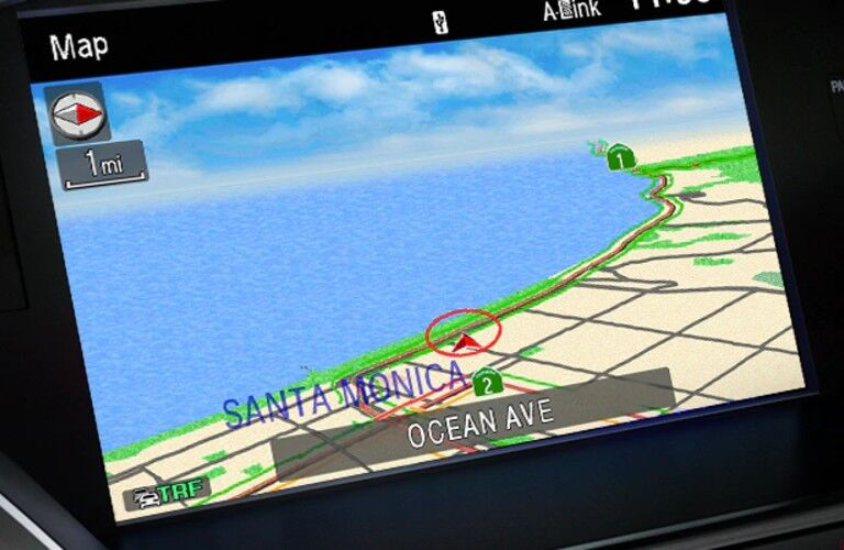 Close up of the navigation system in the 2020 Acura RLX Technology Package