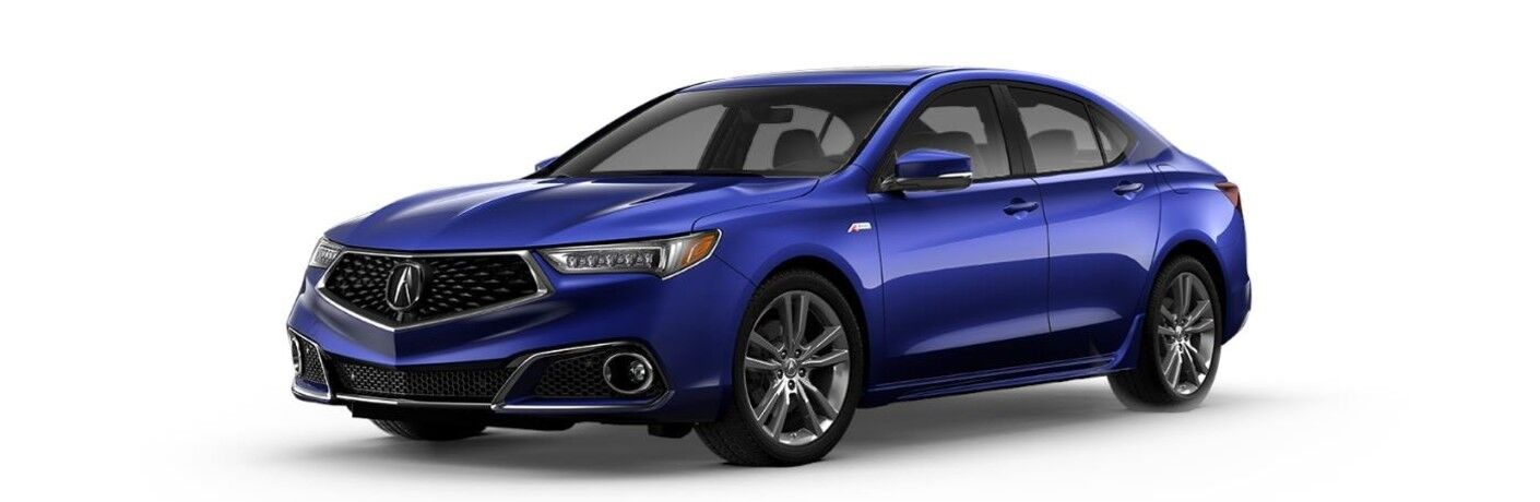 Front driver angle of a blue 2020 Acura TLX A-Spec Package