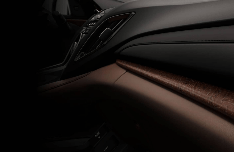 Close up of the Natural Olive Ash Burl Wood Trim interior in the 2020 Acura RDX Advance Package