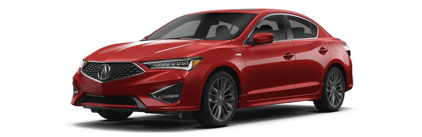 Front driver angle of a red 2021 Acura ILX A-Spec with Premium Package