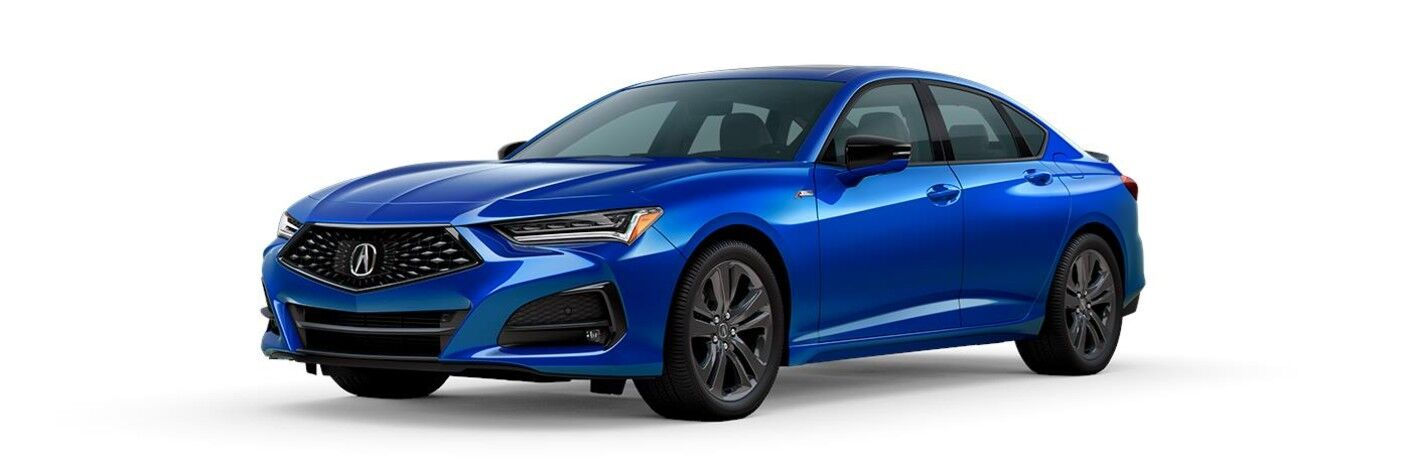 Front driver angle of a blue 2021 Acura TLX A-Spec Package