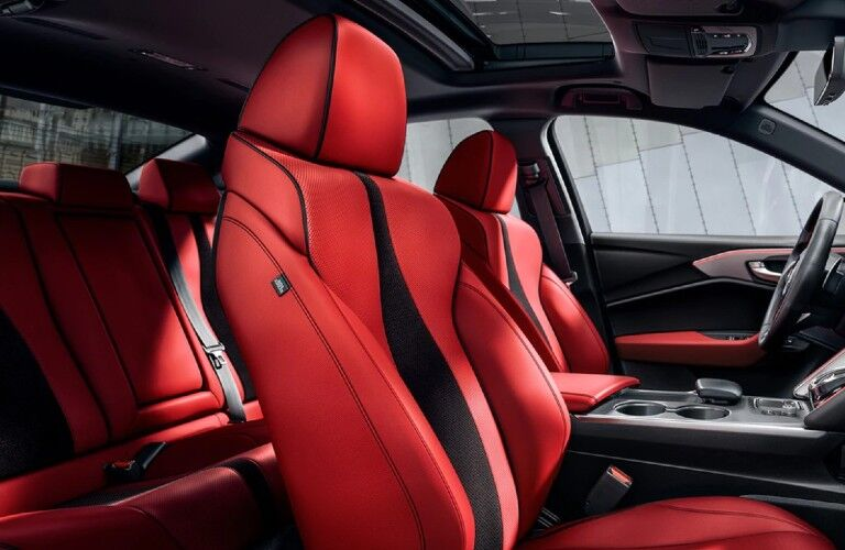 Red seats inside the 2021 Acura TLX A-Spec Package