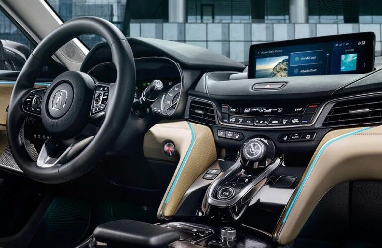 Steering wheel and center console in the 2021 Acura TLX Advance Package