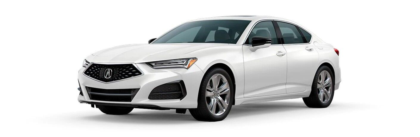 Front driver angle of a white 2021 Acura TLX Technology Package