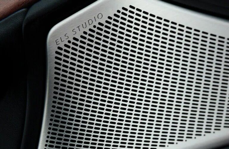 Close up of the ELS Studio logo on a speaker inside the 2021 Acura TLX Technology Package
