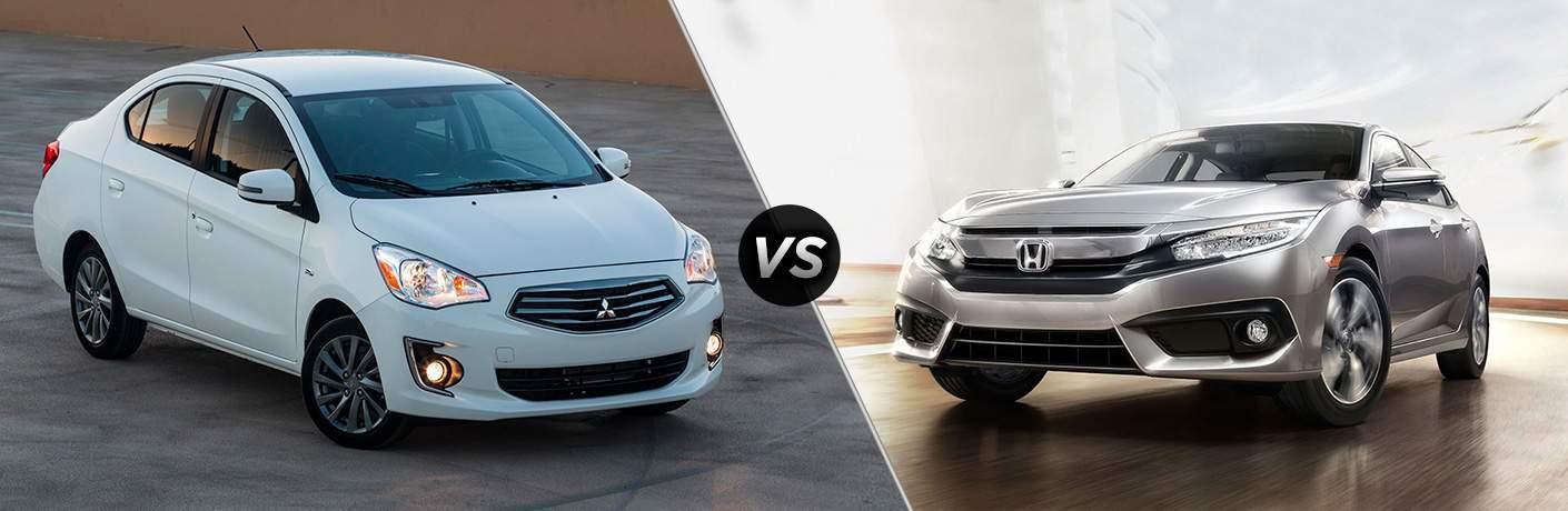 A side-by-side comparison photo of the 2018 Mitsubishi Mirage G4 vs. 2018 Honda Civic