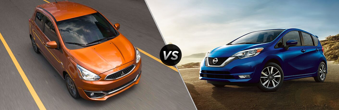 A side-by-side comparison of the 2018 Mitsubishi Mirage vs. 2018 Nissan Versa Note.