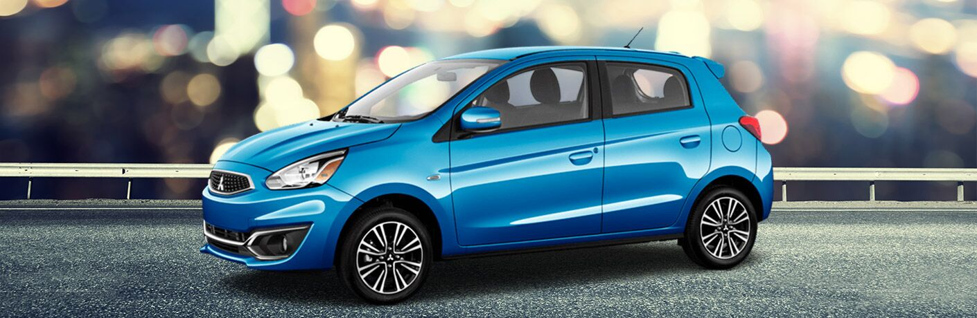 A left profile photo of the 2018 Mitsubishi Mirage.