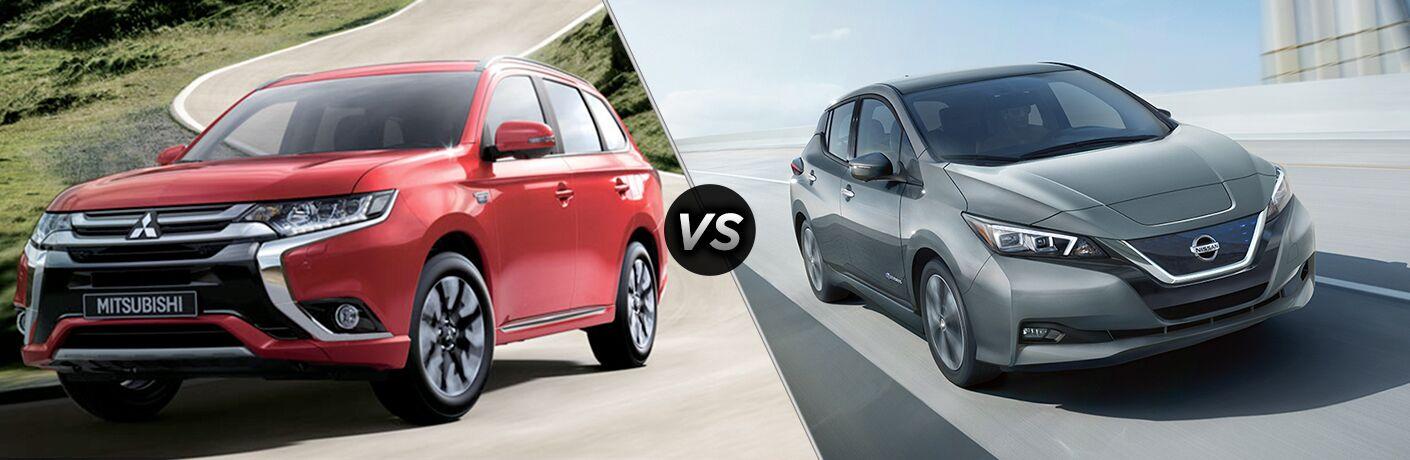 A side-by-side comparison of the 2018 Mitsubishi Outlander PHEV vs. 2018 Nissan Leaf.