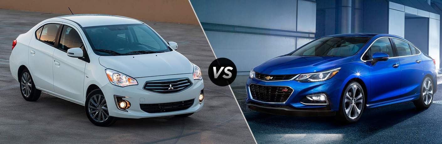 A side-by-side photo of the front quarters of the 2018 Mirage G4 and 2018 Chevy Cruze