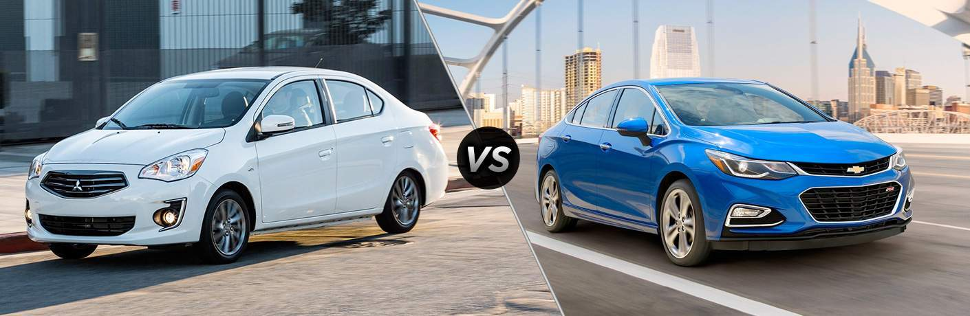 A side-by-side comparison of the 2018 Mitsubishi Mirage G4 vs. 2018 Chevy Cruze