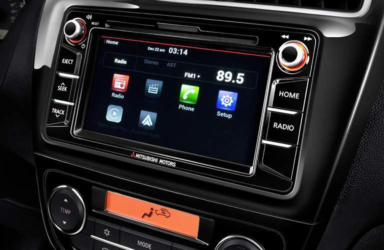 A close up photo of the touchscreen interface for the 2018 Mitsubishi Mirage