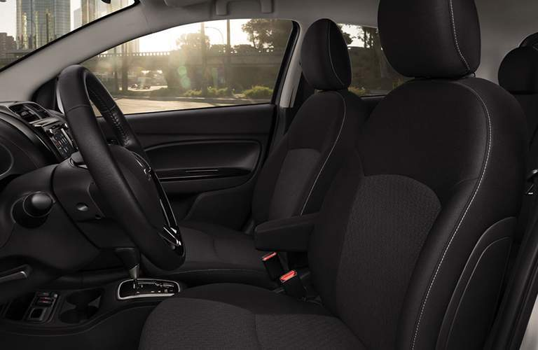 A view of the front seats of the 2018 Mirage with black upholstery