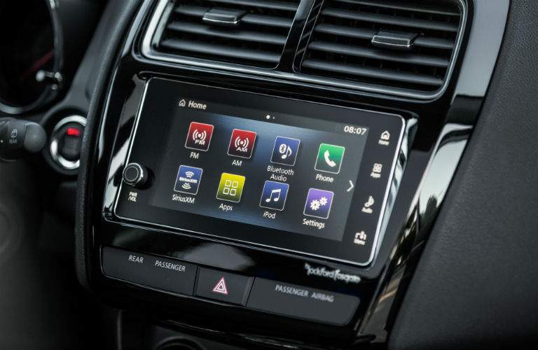 A close up photo of the touchscreen interface of the 2018 Outlander Sport