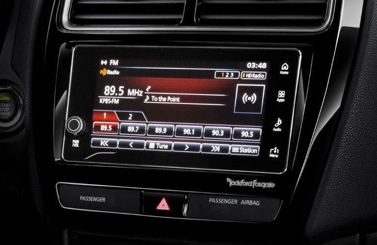 A close up view of the available touchscreen interface found inside of the 2018 Mitsubishi Outlander Sport