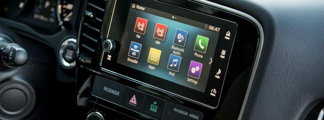 A close up photo of the touchscreen interface in many Mitsubishi vehicles