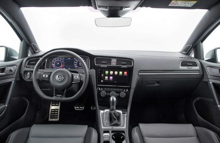 2018 Volkswagen Golf R front dash, steering wheel, and center stack