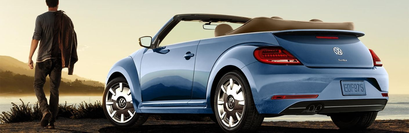 Exterior view of a blue 2019 Volkswagen Beetle Convertible