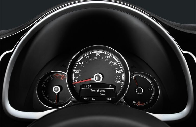 Closeup view of the instrument cluster inside a 2019 Volkswagen Beetle Convertible