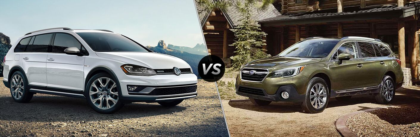 Comparison image of a white 2019 Volkswagen Golf Alltrack and a green 2019 Subaru Outback