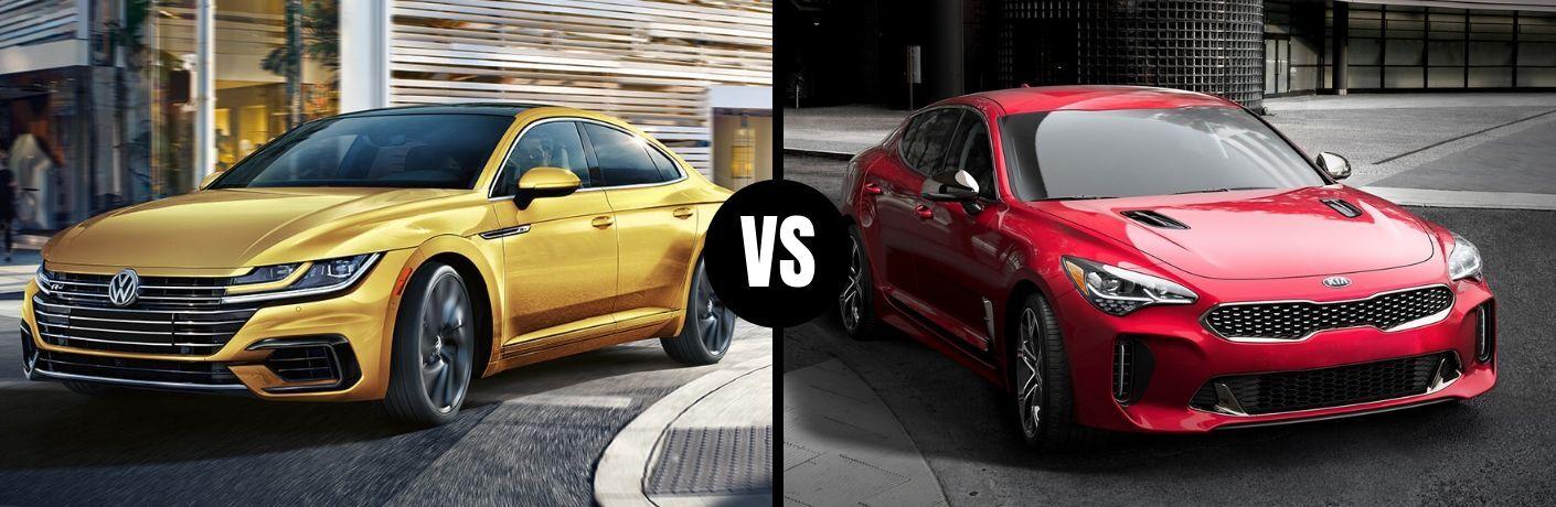 Comparison image of a gold 2019 Volkswagen Arteon and a red 2019 Kia Stinger