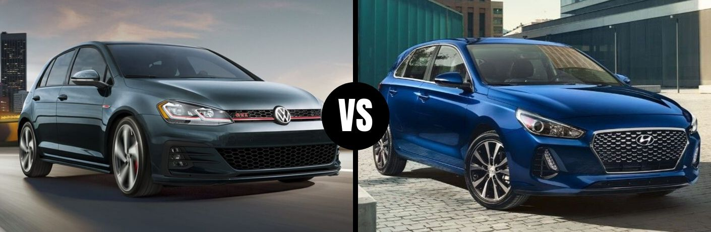 Comparison image of a gray 2019 Volkswagen Golf GTI and a blue 2019 Hyundai Elantra GT