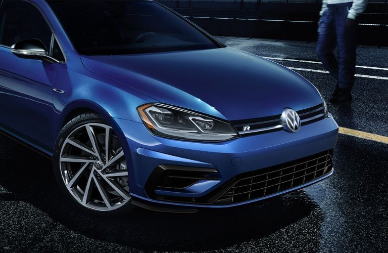 Exterior view of the front of a blue 2019 Volkswagen Golf R
