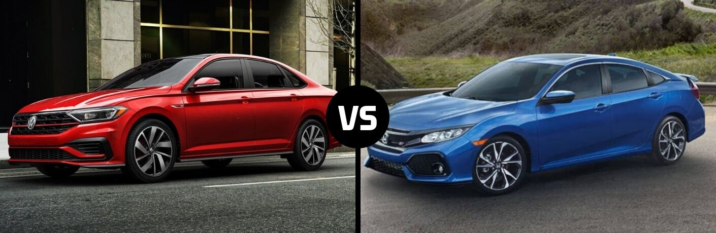 Comparison image of a red 2019 Volkswagen Jetta GLI and a blue 2019 Honda Civic Si