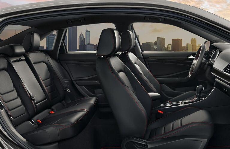 Interior view of the black seating inside a 2019 Volkswagen Jetta GLI
