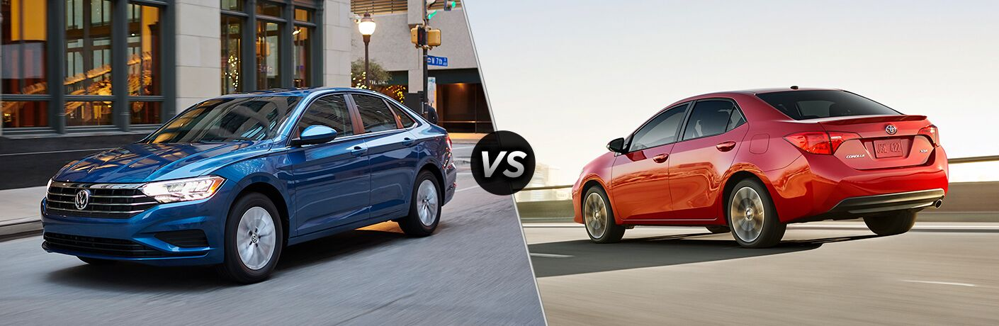 Comparison image of a blue 2019 Volkswagen Jetta and a red 2019 Toyota Corolla