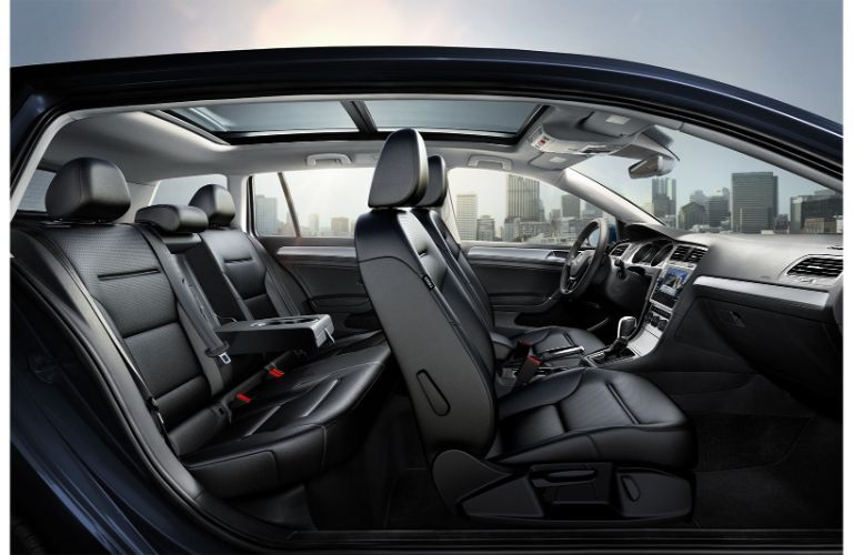 Interior view of the front and rear seating inside a 2019 Volkswagen Golf SportWagen
