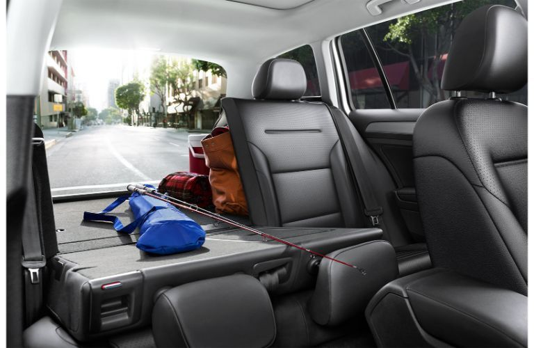 Interior view of the rear seating and cargo area inside a 2019 Volkswagen Golf SportWagen